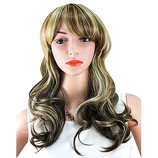 Buy WELLKAGE Womens Long Big Wavy Hair Wigs Blonde Cosplay Wigs ... 366d76a90e