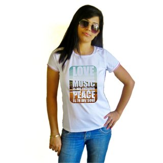 LetsFlaunt Love Music Peace T-shirt T-shirt Girls White Dry-Fit-X-Small Nw