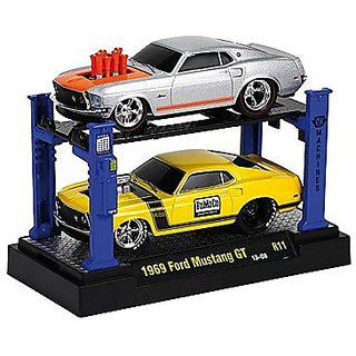 Ford Mustang GT Tuning, 2er-Set: silver orange + met.-yellow, FoMoCo , 1969, Model Car, Ready-made, M2 Machines 1:64