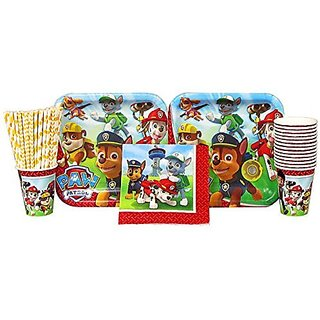 Paw Patrol Party Pack for 16 Guests: Straws, Dinner Plates, Luncheon Napkins, and Cups