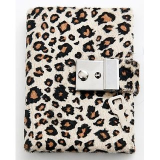 Animal Print Diary - Teen Locking Journal Lock & Key (TAN W BROWN SPOTS)