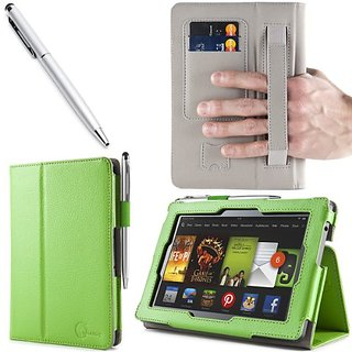 i-BLASON All New Kindle Fire HD (2013 Release) 7 inch Tablet Leather Case Cover with Elastic Hand Strap / ID Card Holder