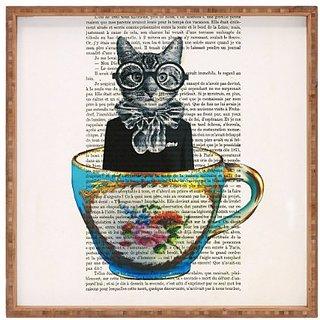 DENY Designs Coco de Paris Cat In A Cup Indoor/Outdoor Square Tray, 12 x 12