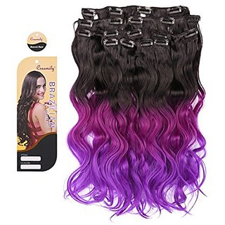 Creamily Natural Black to Fuchsia to Violet Purple 3-tone Ombre Color Wavy Clip in Hair Extensions 8 Pieces 18