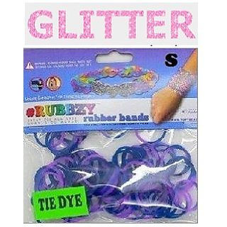 Rubbzy 100 pc Special Edition Tie Dye Glitter Rubber Bands w 4 Connectors (#821)