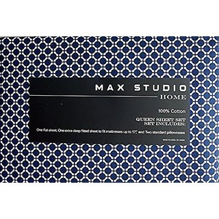 Max Studio Bedding 4 Piece Queen Sheet Set Navy Blue White Geometric Lattice Pattern