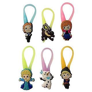 Frozen Luminescent Colorful Silicone Snap Lock Zipper Pulls 6 Pcs Set #3