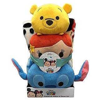 Disney Tsum Tsum Character Pillow & Throw Blanket Set