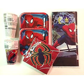Spiderman Party Supplies Pack for 16 - Plates, Cups, Napkins, & Tablecover