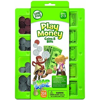 LeapFrog LeapSchool Play Money Coins and Bills Tray, 204 Pieces, Assorted Colors (19472)