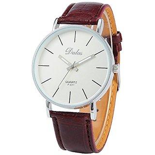 Dalas Ampm24 Coffee Leather Women Lady Girl White Dial Sport Quartz Wrist Watch Gift Waa188