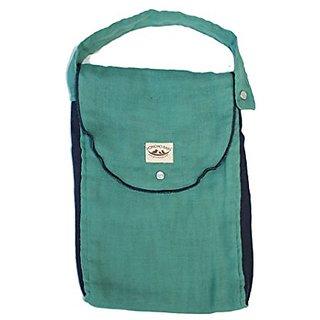 Poncho Baby Organic Diaper Bag: Pack-N-Run Emerald/Navy Blue