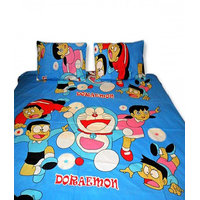 Deal Wala Blue Doremon Double Bedsheet With 2 Pillow Covers {dormn01}