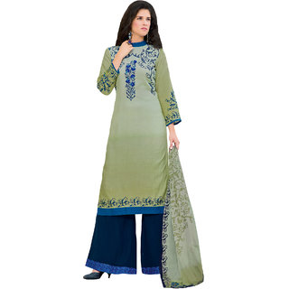 Sareemall Green Floral Print Printed Glaze Cotton Dress Material With Matching Dupatta (Unstitched)