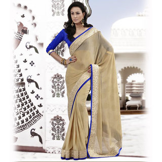 Ishi Maya Gr& Beige Embroidered Party Saree