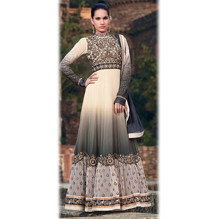 Ishi Maya Bewitching Gray & Cream Floor Touch Anarkali