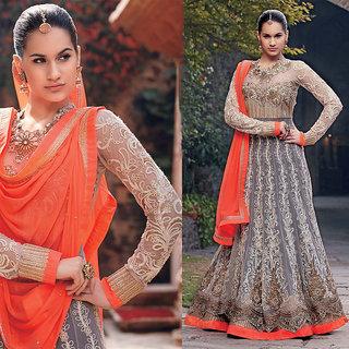 Ishi Maya In Fashion Gray Floor Touch Anarkali