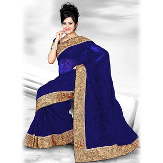 Ishi Maya Dapper Blue Designer Net Saree
