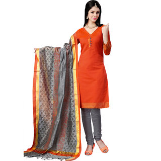 Trendz Apparels Orange Colored Banarasi Plain Dress Material (Unstitched)
