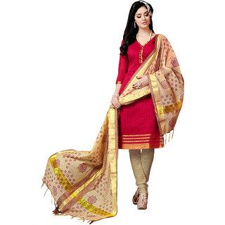 Trendz Apparels Red Colored Banarasi Plain Dress Material (Unstitched)