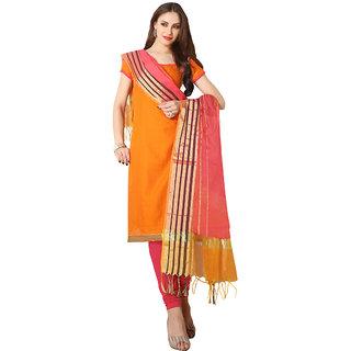 Trendz Apparels Orange Colored South Cotton Plain Dress Material (Unstitched)