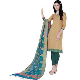 Trendz Apparels Beige Colored Silk Plain Dress Material (Unstitched)