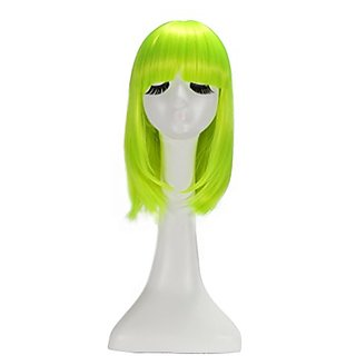 LOUISE MAELYS Shoulder Length Straight Long BOB Wig Anime Cosplay Party Hair Green