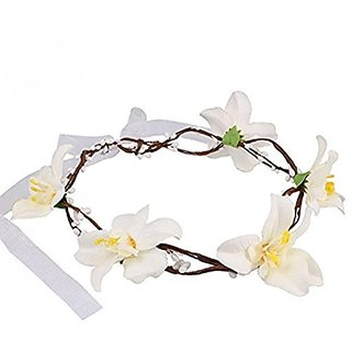 Tinksky Flower Headband bridal Floral Crown Hair Garland Photography Prop - White