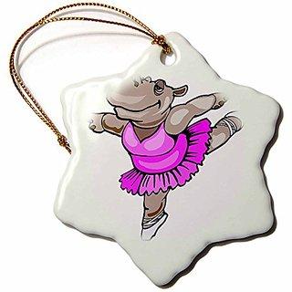 3dRose orn_48519_1 Hippo Ballet Dancer-Snowflake Ornament, Porcelain, 3-Inch