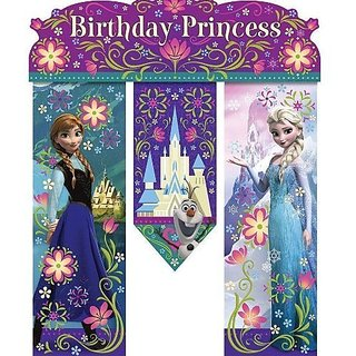 NEW Disneys Frozen Birthday Princess Party Door Banner 26in Anna,elsa and Olaf!
