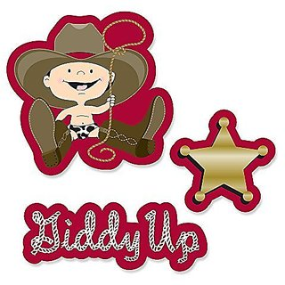 Little Cowboy - Western DIY Shaped Baby Shower or Birthday Party Cut-Outs - 24 Count
