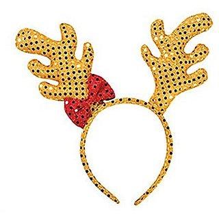 Plush Sequin Reindeer Antler Headband (1 Piece)