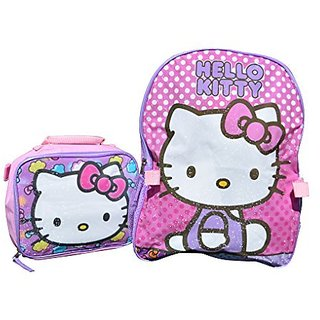 Sanrio Hello Kitty 15 Backpack and Lunch Box Combo Kit (Hello Kitty Pink Sparkle)
