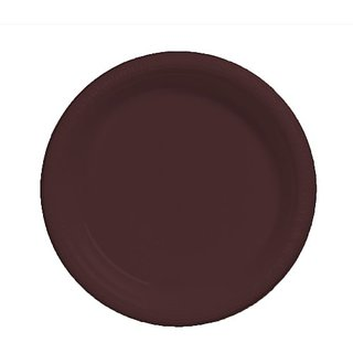 Creative Converting Touch of Color 20 Count Plastic Dinner Plates, Chocolate Brown