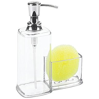 InterDesign Vella Soap Dispenser Pump and Sponge Caddy Organizer for Kitchen Countertops- Clear