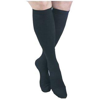 ITA-MED I H-304(3) XXL BL Microfiber Knee Highs, Black, XX-Large