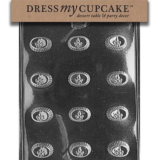 Dress My Cupcake DMCAO086SET Chocolate Candy Mold, Oval Fleur De Lis, Set of 6