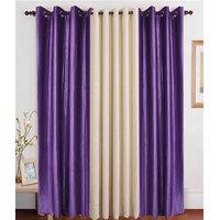Deal Wala Pack Of 2 Purple 1 Cream Eyelet Door Curtain