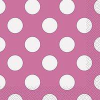 """Polka Dot Beverage Napkins, 5"""" X 5"""", Hot Pink, 16 Count"""