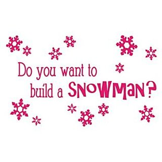 Do you want to build a snowman? Wall Quote & Snowflake Sticker Set Small, Pink