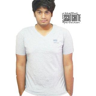 SCATCHITE V Neck Tshirt For Men's Pure Cotton (grey)