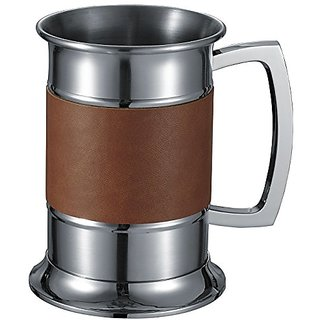 Visol Leather Wrapped Stainless Steel Beer Tankard - 18-Ounce - Brown