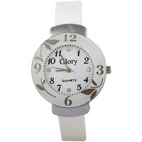 Glory Circular Dial White Strap Design Glass Dial Watch