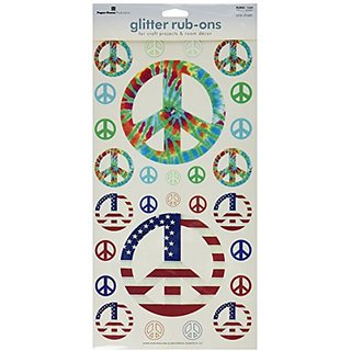 Paper House Productions RUBGL-1004E Single Sheet Borderless Glitter Rub-Ons, Peace Signs