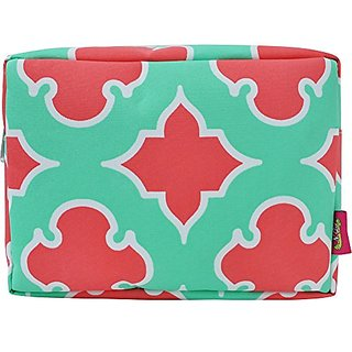Mint Coral Geometric Clover Shape Print Large Cosmetic Travel Pouch