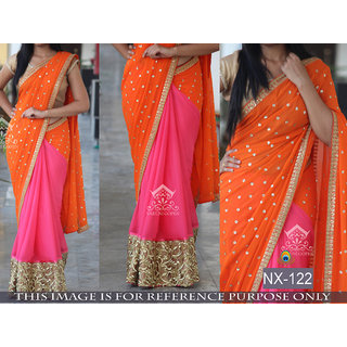 Edeal Online Orange Georgette Saree