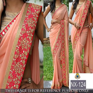 Edeal Online peach Georgette Saree