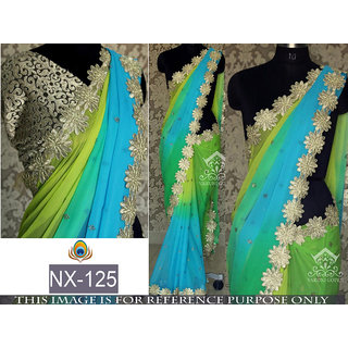Edeal Online Sky Blue And Lime Green Georgette Saree