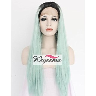 Kryssma Fashion 2 Tone Ombre Lace Front Wigs Synthetic Dark Roots to Mint Green Long Straight Half Hand Tied Heat Resist
