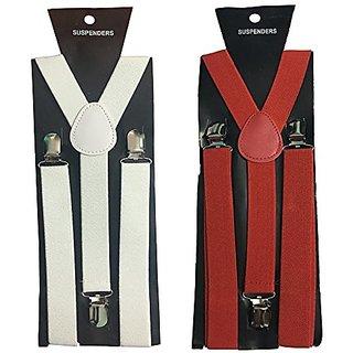 Y- Back Suspenders for Men(White Red Color)